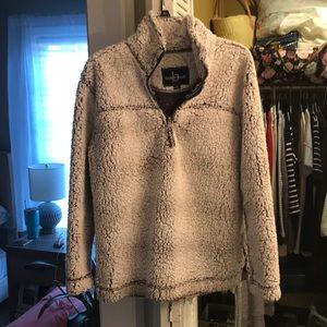 Grey Sherpa Fleece Pullover